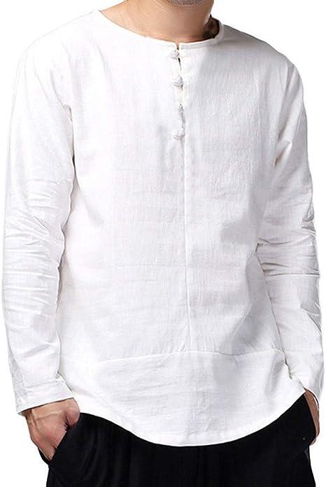 LuckyGirls Camisetas para Hombre Estilo de Kung Fu Chino Camisa de ...