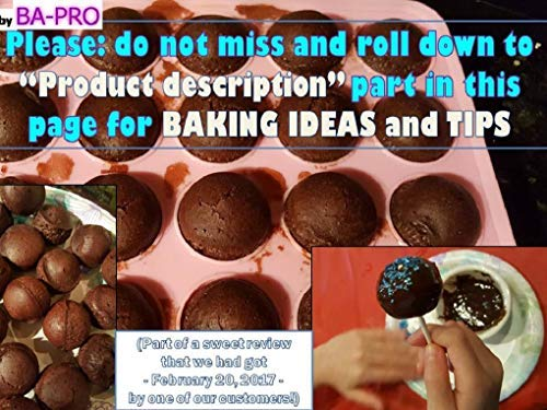 BA-PRO JNXD-119, 20-Cavity Ball Shape Baking Mold, Muffins Cupcakes Cookware Silicone Set, Best for Brownies, Pies, Lollipops, Candies, Jelly and Chocolate, Ice Cream Tray, 228/186/40mm (L/W/H), Pink 3 BAKING EXPERIENCE with ZERO FRUSTRATION It's Humongous: a Multi-Use Cookware of Sturdy yet Flexible Double Tray Cupcake Pan that Will Carry All Baking Endeavors with Embarrassing Ease and Effortless Comfort. Elegant Shape, Available Here in Our USA Stock