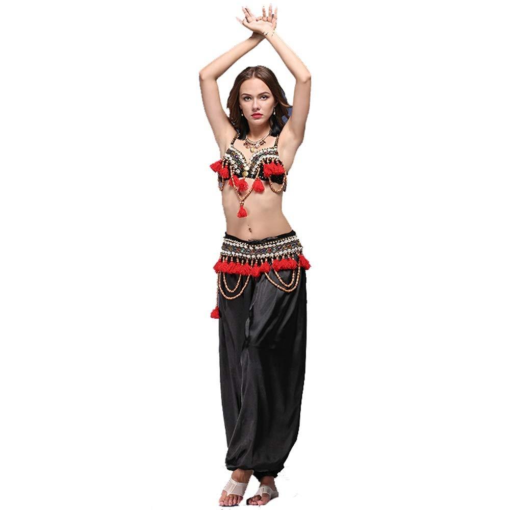 ベリーダンス 衣装 女性セクシーなベリーダンスブラジャーベルトプロのブラガードル+パンツ 女性シフォンベリーダンススカート (色 : ブラック, サイズ : L) ブラック Large