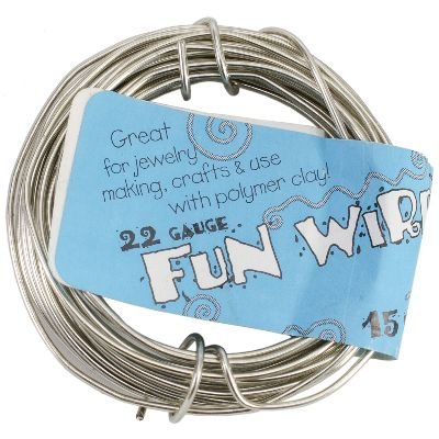 Toner Plastic Coated Fun Wire, 22-Gauge, Icy Silver, 15 Ft