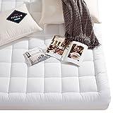 Luxury mattress Collection 100% Cotton 300 Thread Mattress Pad Cover Down Hotel Use Alternative Pillowtop Mattress Topper(Queen,No Printing)