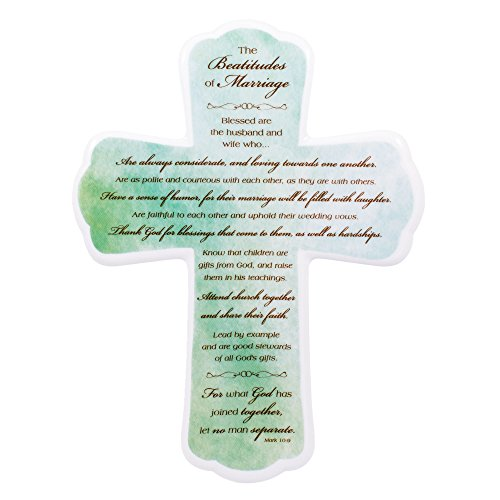 The Beatitudes of Marriage 10 inch Porcelain Wall Cross (Porcelain Cross)