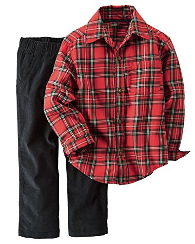 Carters 2 Piece Outfit (Carter's Baby Boys 2 Piece Playwear Sets, Red Plaid/Corduroy,)