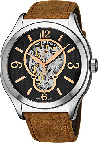 Philip Stein Prestige Skeleton Mens Automatic Watch - Analog Black Open Face with Sapphire Crystal Brown Leather Band - Natural Frequency Technology Provides More Energy and Better Sleep