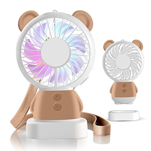TechCode Handheld Electric Fans, Cute USB Charger Noiseless Fans 2 Speed Adjustable Rechargeable Handhold Portable Personal Fans Creative Cooling Mini Fan with Colorful Led Night Light (Brown) by TechCode (Image #9)