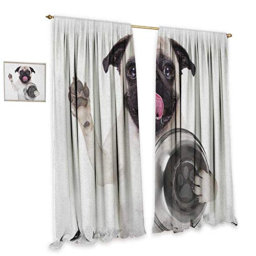 (cobeDecor Pug Sliding Curtains Cute Pug Holding Food Bowl and Licking Its Lips Hunger Image Raising Its Hand Noise Reducing 72
