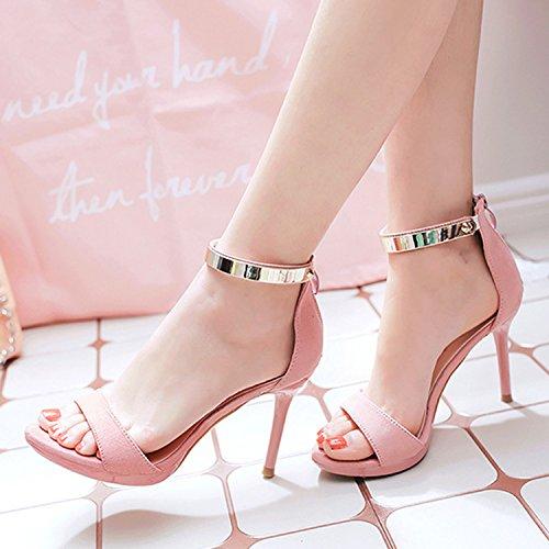 Azbro Mujer Moda Sandalias Tacón Alto Correa Tobillo Rosa