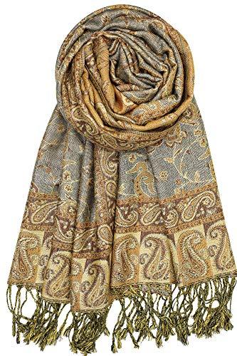 "Achillea Soft Silky Reversible Paisley Pashmina Shawl Wrap Scarf w/Fringes 80"" x 28"" (Grey Bronze)"
