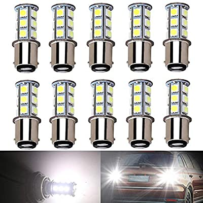BlyilyB 10-Pack BA15D 1004 1142 6500K White LED Bulbs Replacement Lamps DC 12V Interior RV Camper Trailer Lighting Boat Yard Light Tail Bulbs (Pack of 10): Automotive