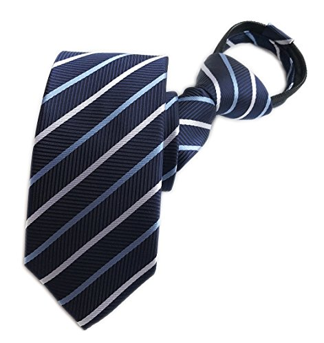Men Kids Navy Blue White Zip Ties Formal Funny Narrow Neckties Gifts for Husband