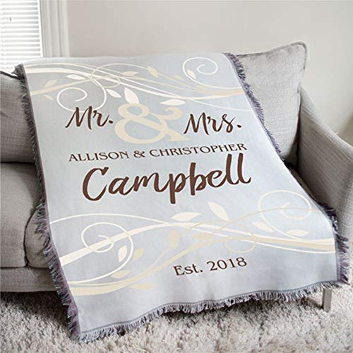 Personalized Mr & Mrs Wedding Tapestry Throw. Measures 54
