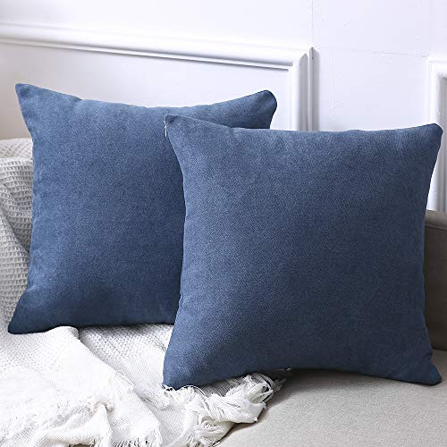 Madizz Set of 2 Linen Cloth Solid Decorative Square Throw Pillow Covers Set Cushion Case 18x18 inch Sofa Pillow Replacement Denim - Blue Denim Pillow