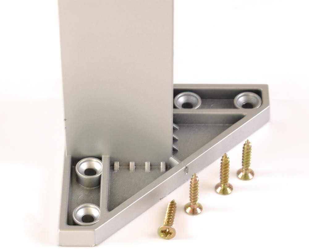 4 un Pata pie cuadrada para Mueble en resina plastica abs ANTICORROSION 40x40mm altura 100mm aluminio mate con Tap/ón contera