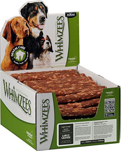 Whimzees Paragon Pet Products USA Veggie Sausage Dental Treat- Brown Large/50 Piece