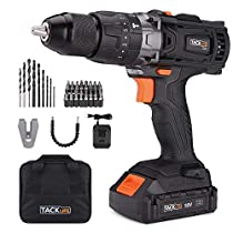 Tacklife 20V MAX 1/2 Cordless Drill Driver Set with Hammer Function, 2 Speed, Max Torque 310 in-lbs, 43pcs Accessories Included, 2.0Ah Lithium-Ion Battery| PCD04B