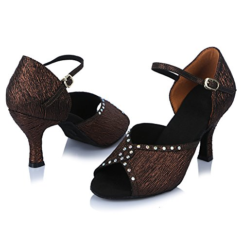 Scarpe Da Ballo Latino Da Donna In Raso Con Rhinestone E Scarpe Da Ballo Tango Salsa Ballerino, Modello Af452 Bronzo