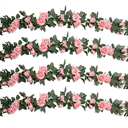 SHACOS 4 Pack Artificial Rose Garlands Rose Vines Leaves Hanging Rose Flower Vine Home Wedding Party Decor (Pink, 4)