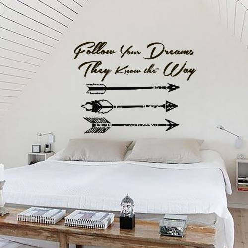 (Dream Catcher Decal Feather Sticker Boho Dreamcatcher Wall Decals Quotes for Bedroom Nursery Hippie Decor Bohemian Bedding Art Ah121)