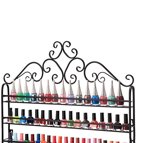 Dazone DIY Mounted 6 Shelf Nail Polish Wall Rack Organizer Holds 120 Bottles Nail Polish or Essential Oils (Black)