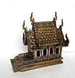 Baan Tawai, Chiang Mai, Thailand, Large Gold Antique Handmade Spirit House Temple Haunted House Temple.