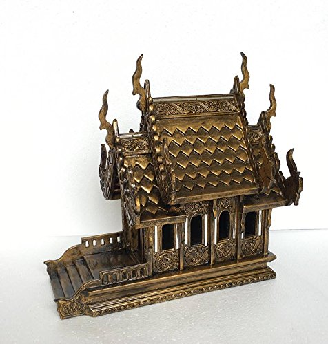 Baan Tawai, Chiang Mai, Thailand, Large Gold Antique Handmade Spirit House Temple Haunted House Temple. by WADSUWAN SHOP