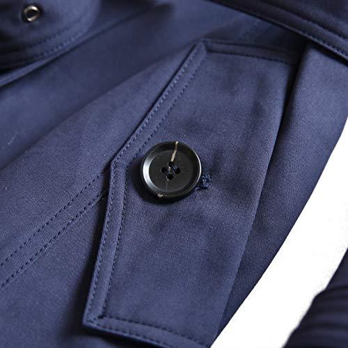 coton style de la longue vintage double mode section bleu femmes en à marine Zxc manteau boutonnage britannique 7TqXzHw