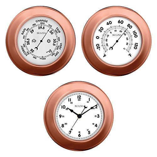 Weather Station - Clock, Barometer and Thermometer - 3 Piece Set - Bulova C4829