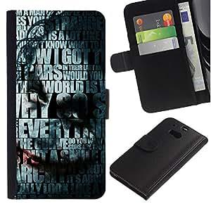 YiPhone /// Tirón de la caja Cartera de cuero con ranuras para tarjetas - Joker Tipografía - HTC One M8