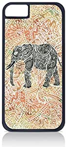 Tribal-Aztec-Elephant-Orange Background - For Iphone 5C Phone Case Cover Universal-Hard Black Plastic Outer Shell with Inner Soft Black Hard Lining-(NOT 5C)