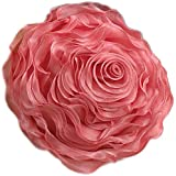 Fennco Styles Hayley Rose Chiffon Decorative Throw Pillow, Filler Included,  16 Inch Round