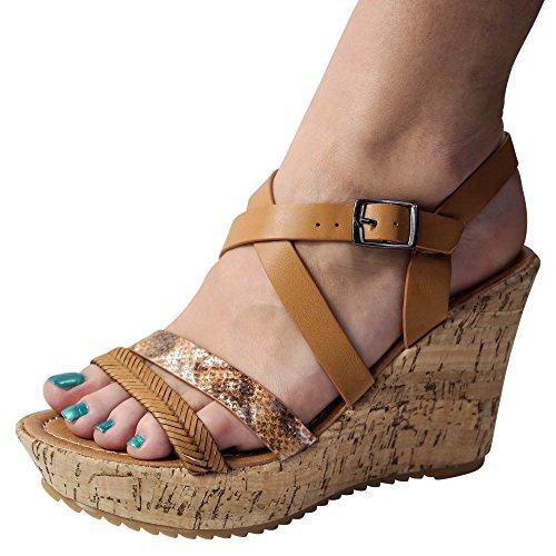 ... Schuhtraum Damen Sandalen Keilabsatz Sandaletten Wedge High Heels  Plateau ST011 Camel 43a4231773