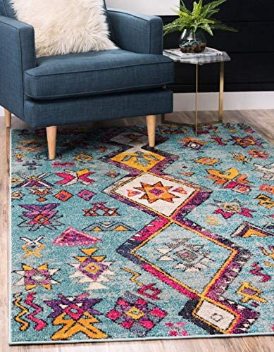 Unique Loom Sedona Collection Nomad Abstract Over-Dyed Turquoise Area Rug 5 0 x 8 0
