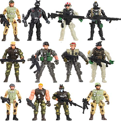 Fycooler [12 Pack Special Forces Army Combat SWAT Soldier Action Figures with Military Weapons and Accessories (4-Inches)