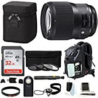 Sigma 135mm f/1.8 DG HSM Art Lens for Canon w/ 32GB Memory Card, Photo and Travel Bundle