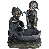 Northlight Children with Umbrella Outdoor Patio Garden Water Fountain, 23.5'', Bronze