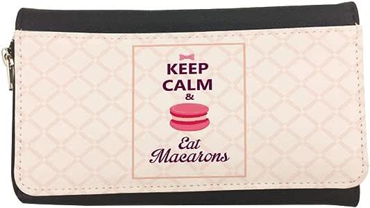 حافظ على الهدوء وأكل ماكارونز حافظة جلدية مطبوعة
