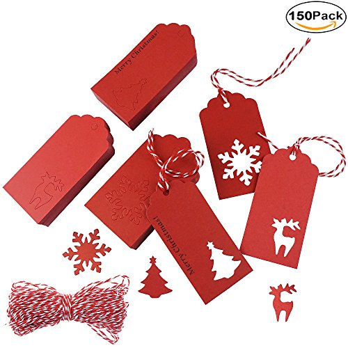 Snowflake Gift Tag - Shxstore Red Christmas Kraft Paper Gift Tags Xmas Holiday Hanging Labels Of Christmas Tree Snowflake Reindeer Shape Design With Bakers Twine, 150 Counts