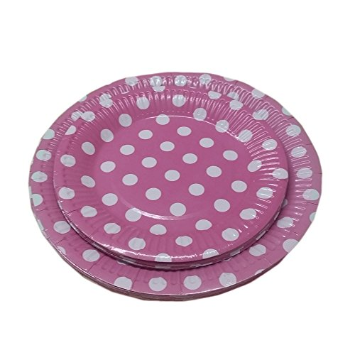 24 Light Pink And White Polka Dot Dinner And Dessert Plates- Pack Of 24- Includes 12 9 Inch And 12 7 Inch Party Plates. By Premium Disposables. -