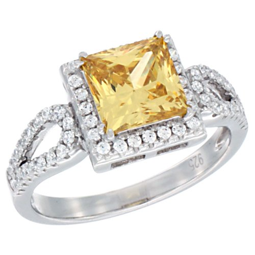 Ladies Sterling Silver Citrine Micro Pave CZ Ring Princess Cut 7mm, size 9