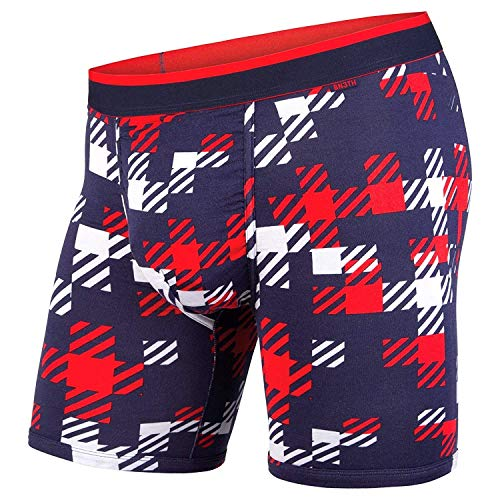 American Eagle Plaid - BN3TH Men's Standard Classics Boxer Brief Premium Underwear with Pouch, Team Plaid Navy/Red, XX-Small