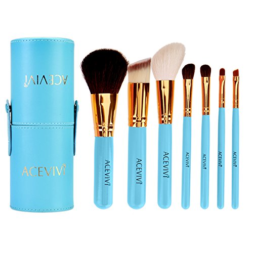 ACEVIVI 7 pcs Premium Kabuki Pink Makeup Brush Set Face Powder Foundation Eye Cosmetic Brush Kit with Roller Case, Sky Blue