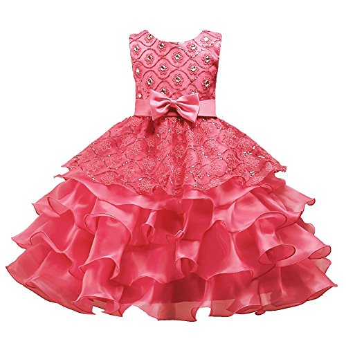 Big Girl Dress Size 6 8 Years 10T Formal Special Occasion Wedding Party Birthday Princess Teen Pageant Elegant Girl Dresses Size 10/12 Sleeveless Knee Length 10-12 Years Watermelon Red 140