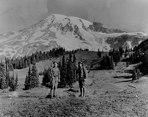 (Hikers at Paradise on Mount Rainier Photograph (24x36 SIGNED Print Master Giclee Print w/Certificate of Authenticity - Wall Decor Travel Poster))