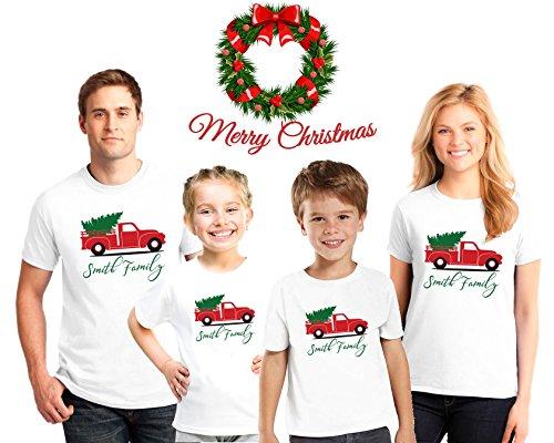Custom name Christmas Family Pajama Matching Shirts,Christmas Truck Shirts, Christmas Snowman Tshirts, Family Christmas pajama tees (Christmas Monogrammed Pajamas)