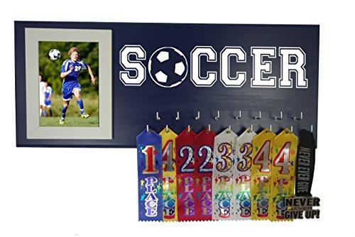 RUNNING ON THE WALL-Soccer Gifts for Athletes-Medal Display Rack-Medal Holder for Soccer Player and Coach-''SOCCER'' by Running On The Wall