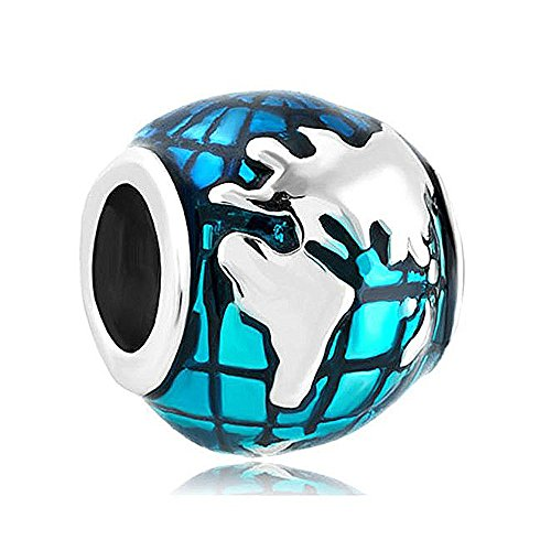 CREATIONTOP Valentine's Day Gifts Ocean Blue Earth World Globe Charm Sale Cheap Beads European Charms Bracelet (Sale European Bead)