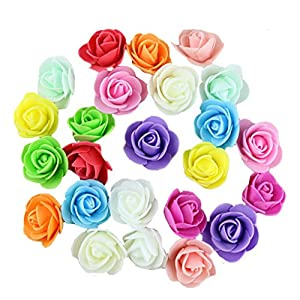 Flyusa 30 Pcs 1.2 Inch Fake Rose Flower Heads, Real Looking Artificial Roses Flowers Heads for Wedding Bouquets Centerpieces Flowers Accessories 13