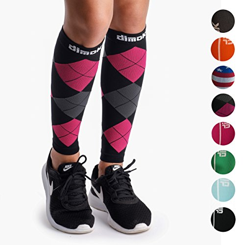 dimok Calf Compression Sleeves Pair - Leg Compression Socks Calves Running Women Men - Best Shin Splint Muscle Pain Better Circulation (M/L)