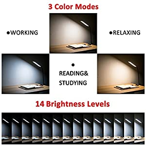 TOPESEL 5W Dimmable Clip Led Desk Lamp, Eye-care Flexible Gooseneck USB Clamp Reading Lamp, 3 Color Temperature, 14 Brightness Levels Table Lamp, Black