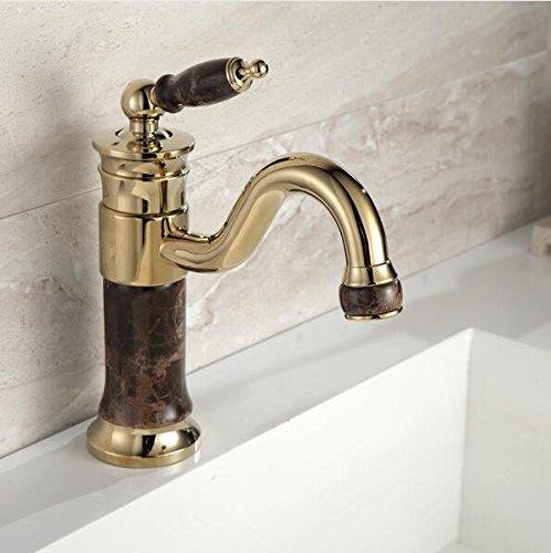 Makej Messing Und Hahn Badezimmer Waschbecken Wasserhahn Mixer Gold Waschbecken Armatur Badewanne Waschbecken Wasserhahn Tippen Montiert